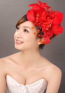 Elegant Red Feather Flowers Beading Womens Fascinators