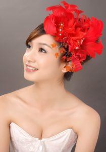 Elegant Red Feather Flowers Beading Womens Fascinators