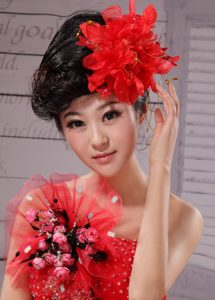Red Best Sale Hat Flower Wedding Headpieces