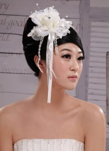 2013 Headpieces Girl White Pearl Flower Bud Silk Hair Hoop