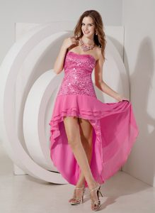 Discount Hot Pink High-low Strapless Chiffon Prom Dress with Sequin for Cheap
