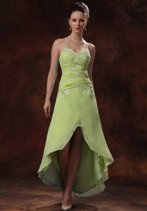 High-low Ruched Yellow Green Prom Dress with Spaghetti Straps and Appliques