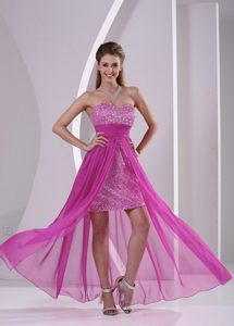 Popular High-low Fuchsia Sweetheart Prom Gown Dress with Paillette over Skirt