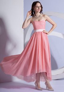 Beautiful Peach Pink Chiffon High-low Sweetheart 2013 Prom Dress with Ruching