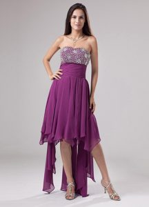 Lovely Purple Strapless Beaded and Ruched Prom Pageant Dress on Promotion
