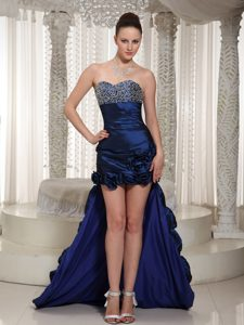 High-low Beaded Navy Blue Prom Cocktail Dress with Hand Made Flower on Sale