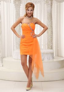 Beautiful Ruched and Beaded Sweetheart Orange Pretty Prom Dress for Cocktail