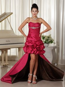 Perfect High-low Prom Dress Ruched and Beaded with Pick-ups for Cheap