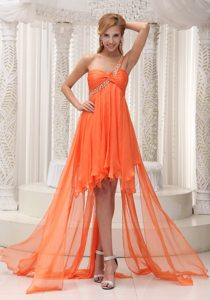 Beading Decorated One Shoulder Ruched Orange Chiffon High-low Prom Dress