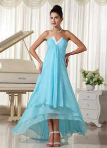 Lovely Chiffon and Baby Blue High-low 2013 Prom Homecoming Dress on Sale