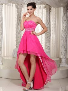 New Empire Sweetheart High-low Chiffon and Lace Beaded Prom Evening Dress