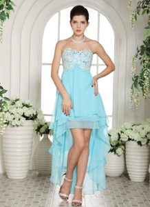 Aqua Blue Sweetheart Layered High-low Prom Dress for Juniors with Appliques