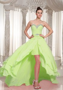 Sweetheart High-low Yellow Green Layered Chiffon Prom Dresses with Beading