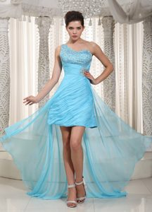 One Shoulder High-low Aqua Blue Ruched Prom Cocktail Dresses with Beading