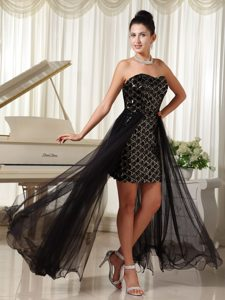 Black Sweetheart High-low Sequin and Chiffon Prom Cocktail Dress for Cheap