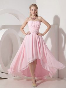 Baby Pink Strapless High-low Ruched Chiffon Prom Dresses with Beaded Waist