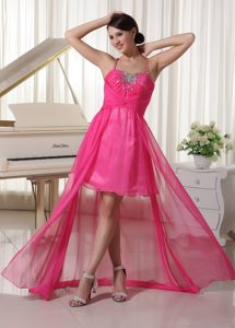 Spaghetti Straps High-low Hot Pink Ruched Chiffon Prom Dresses with Beading