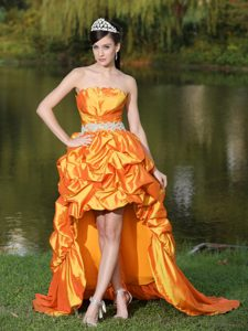 Orange Shell Neckline High-low Prom Dress with Appliques and Pick-ups