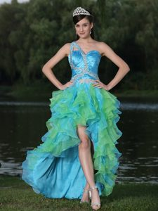 One Shoulder High-low Ruched Prom Graduation Dress with Ruffles and Beading