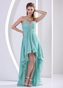 Strapless High-low Aqua Blue Layered Chiffon Ruched Prom Dress with Appliques