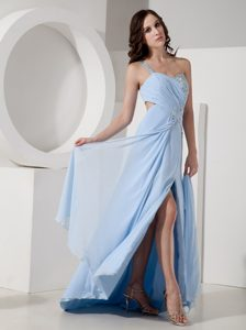 One Shoulder Baby Blue Ruched Chiffon Prom Dress with Beading and High Slit