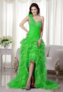 One Shoulder High-low Spring Green Ruched Ruffled Prom Dress with Beading