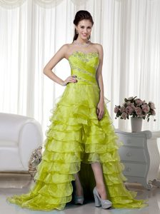 Olive Green Sweetheart High-low Organza Prom Dress with Beading and Ruffles