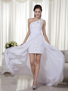 White One Shoulder High-low Ruched Chiffon Prom Party Dress with Appliques