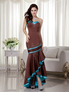 Blue and Brown Sweetheart High-low Mermaid Prom Party Dress with Beading