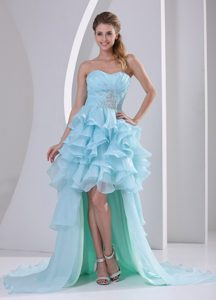 Baby Blue Sweetheart High-low Beaded Ruched Prom Dress with Ruffles on Sale