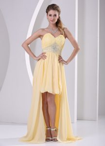 Light Yellow Sweetheart High-low Ruched Chiffon Prom Dress with Beaded Waist