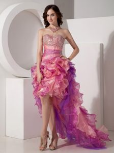 Sweetheart High-low Multi-colored Prom Party Dress with Ruffles and Beading