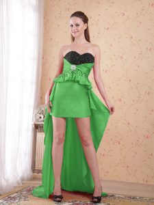Most Popular Green Sweetheart High-low Beaded Prom Homecoming Dresses