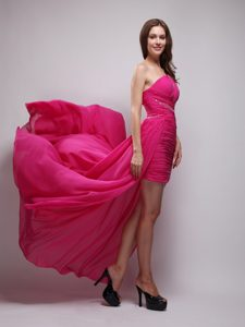 Hot Pink One Shoulder High-low Ruched Chiffon Prom Party Dress with Beading