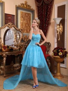 Sweetheart High-low Baby Blue Organza Prom Dresses with Beading for Cheap