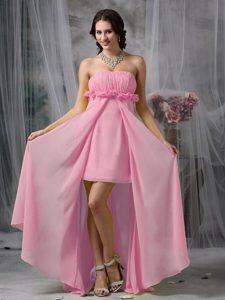 Baby Pink Strapless Long Ruched Flounced Chiffon Prom Dress with Slit