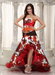 Strapless High-low Ruched Special Printed Prom Dress with Beading for Cheap