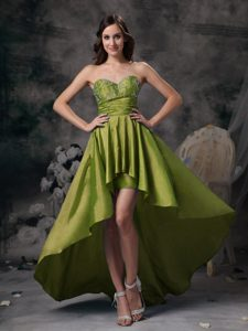 Sweetheart High-low Olive Green Prom Graduation Dress with Appliques