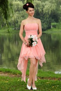 Watermelon Strapless Asymmetrical Prom Party Dress with Beading and Ruching