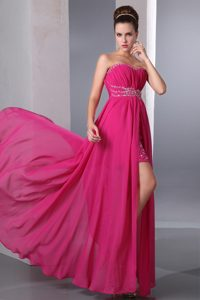 Hot Pink Strapless Long Ruched Beaded Prom Party Dress with High Slit