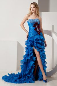 Sweetheart High-low Royal Blue Ruched Beaded Prom Party Dress with Ruffles