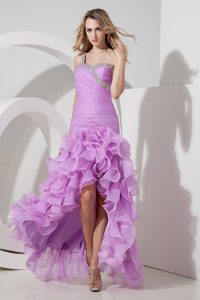 Lavender One Shoulder High-low Ruched Prom Dress with Beading and Ruffles