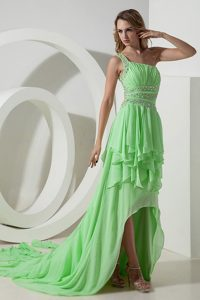 Spring Green One Shoulder High-low Ruched Beaded Prom Dresses with Layers