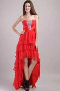 Red Strapless High-low Layered Organza Prom Dresses with Beading for Cheap