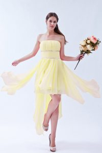 Light Yellow Strapless Asymmetrical Ruched Chiffon Prom Dress with Beading