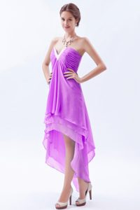 2015 Lavender Slot Neckline Layered Chiffon Plus Size Prom Dress with Ruching