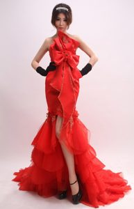 Red Strapless High-low Beaded Tulle Mermaid Ruffled Prom Dresses with Bow