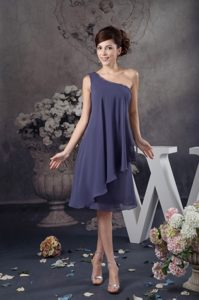 Cheap One Shoulder Knee-length Navy Blue Beaded Prom Dress for Bridesmaid