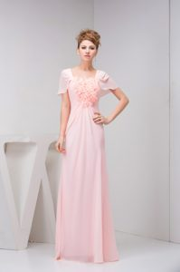 Baby Pink Short Sleeves Long Ruched Chiffon Prom Dress with Flowers