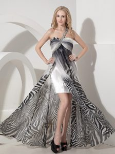 One Shoulder Long Zebra Ruched Prom Dress with High Slit and Beading